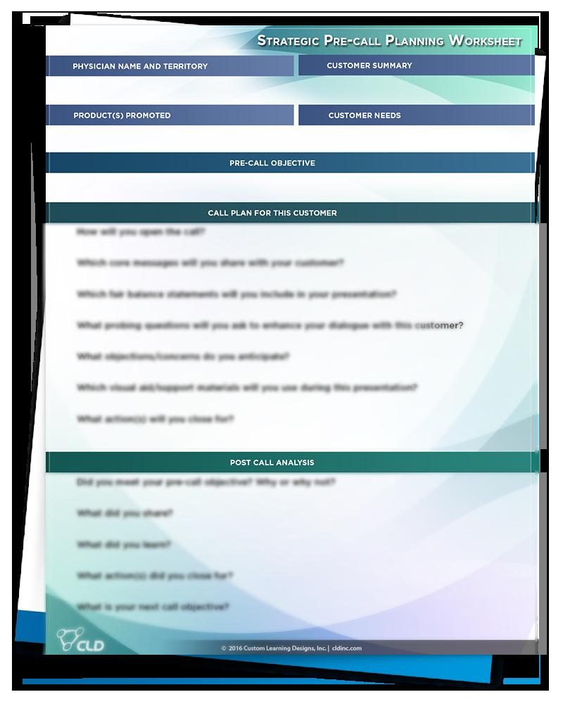 Pre-Call Plan Worksheet